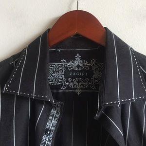 Zagiri Men's Shirt Embroidery Flip Cuff Black Sz L